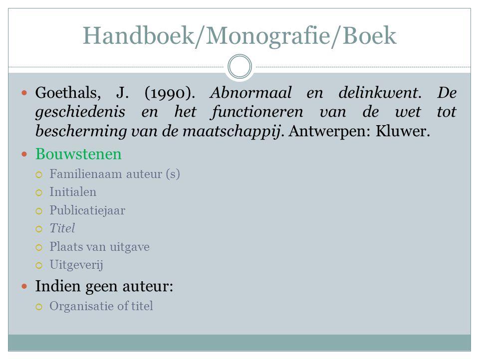 Handboek/Monografie/Boek