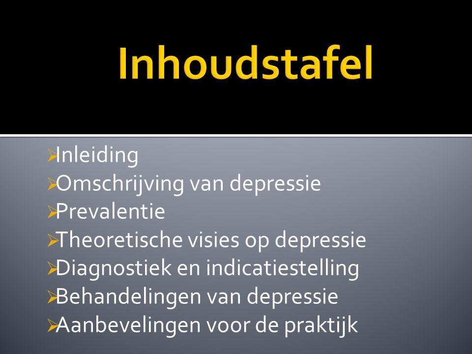 Inhoudstafel Inleiding Omschrijving van depressie Prevalentie