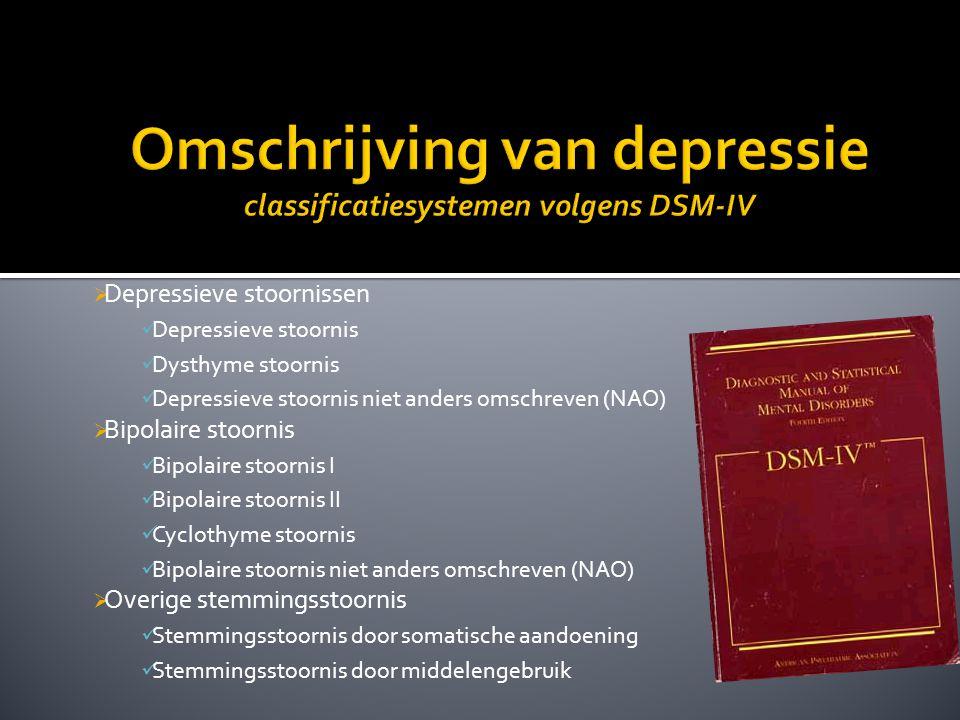 Omschrijving van depressie classificatiesystemen volgens DSM-IV