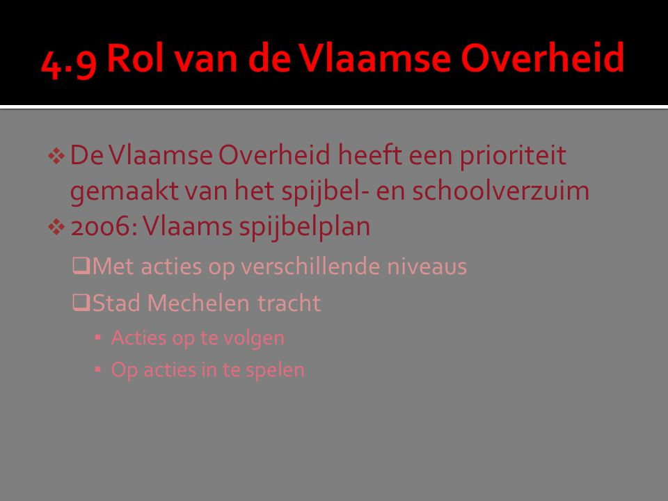 4.9 Rol van de Vlaamse Overheid