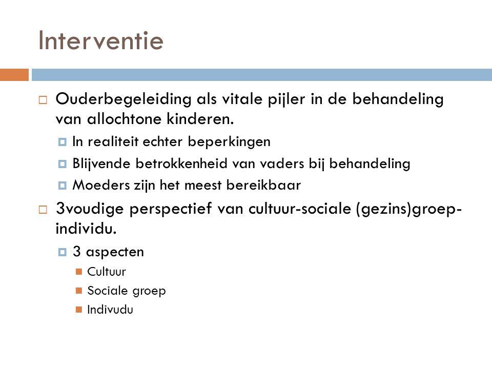 Interventie Ouderbegeleiding als vitale pijler in de behandeling van allochtone kinderen. In realiteit echter beperkingen.