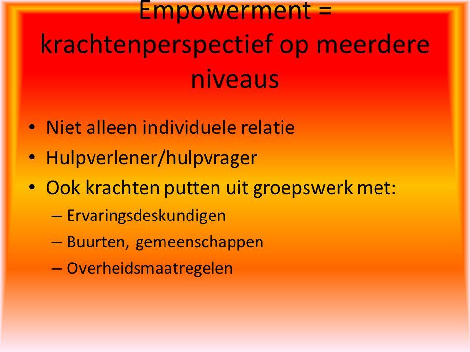 Empowerment = krachtenperspectief op meerdere niveaus