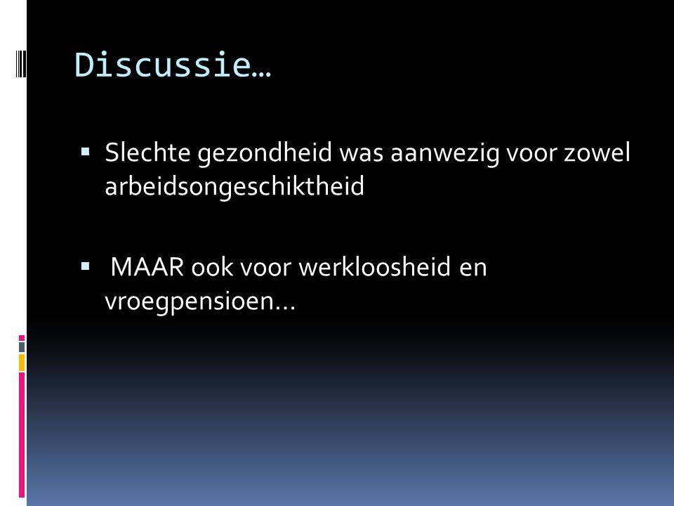 Discussie… Slechte gezondheid was aanwezig voor zowel arbeidsongeschiktheid.