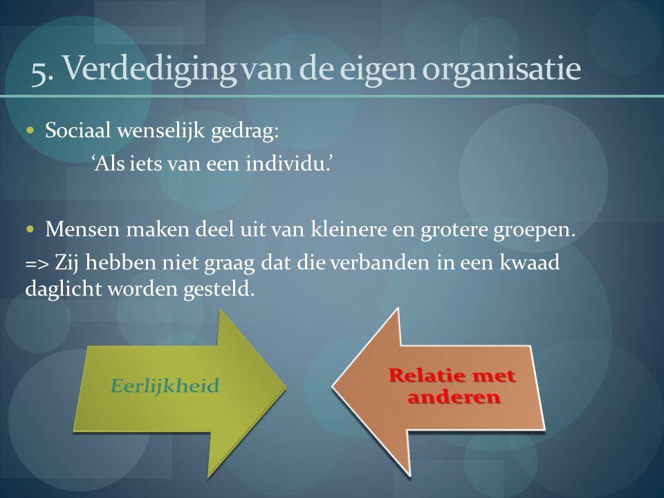 5. Verdediging van de eigen organisatie