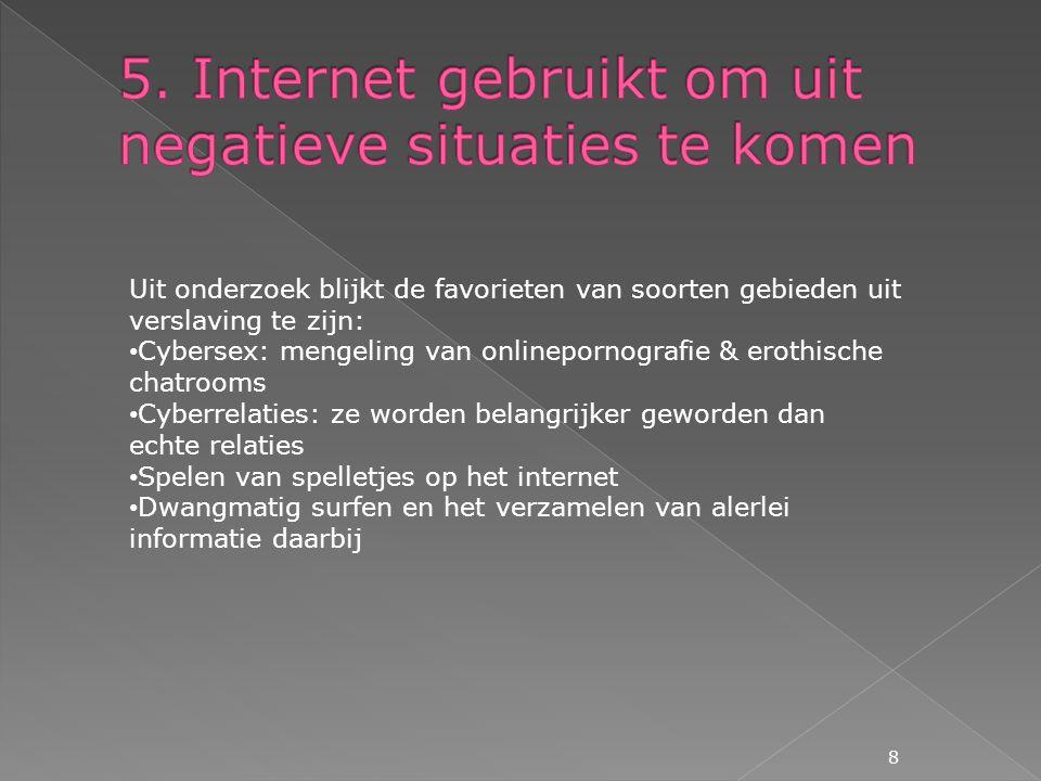 5. Internet gebruikt om uit negatieve situaties te komen