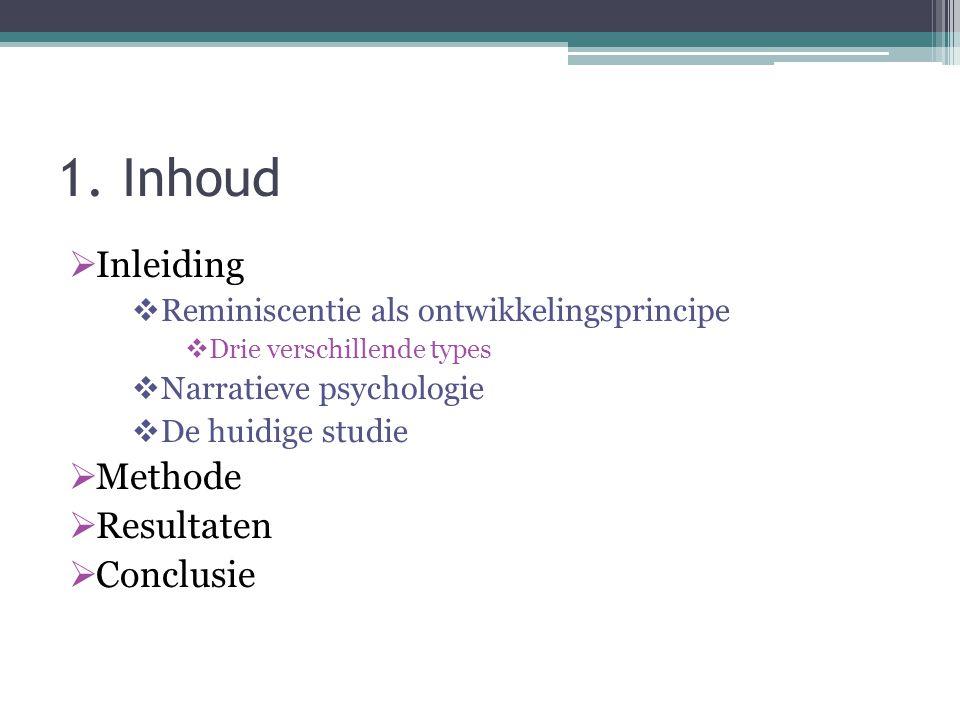1. Inhoud Inleiding Methode Resultaten Conclusie