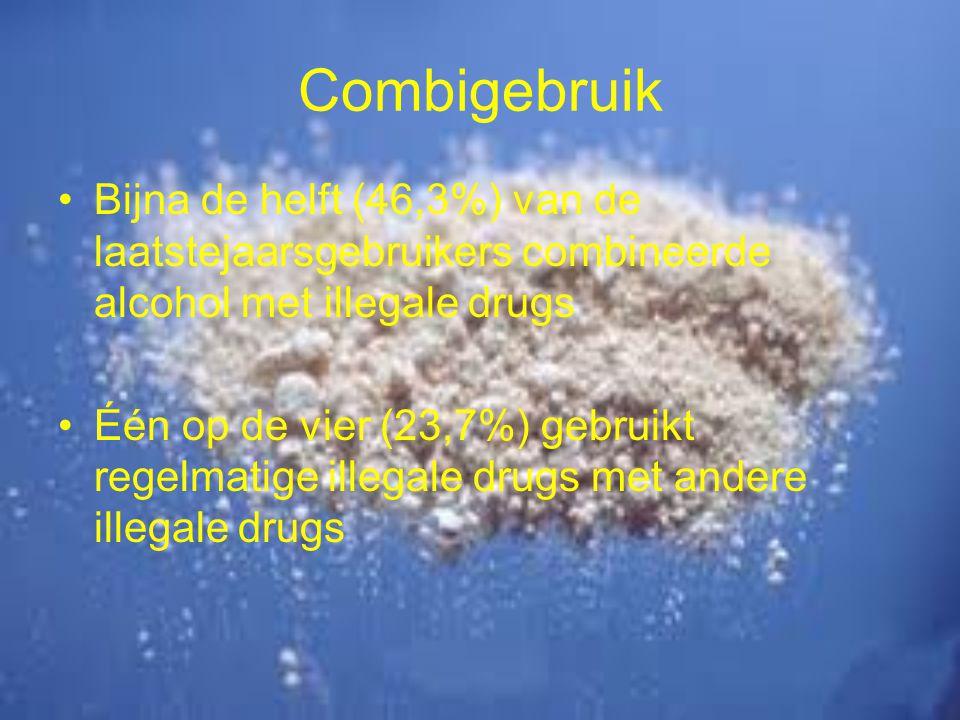 Combigebruik Bijna de helft (46,3%) van de laatstejaarsgebruikers combineerde alcohol met illegale drugs.
