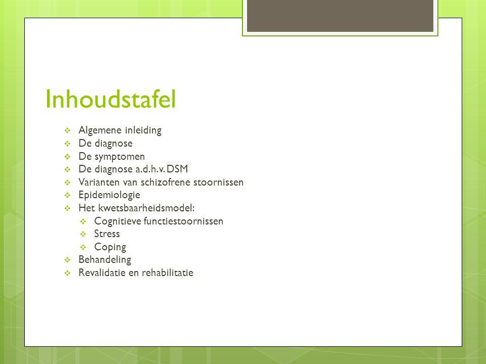 Inhoudstafel Algemene inleiding De diagnose De symptomen