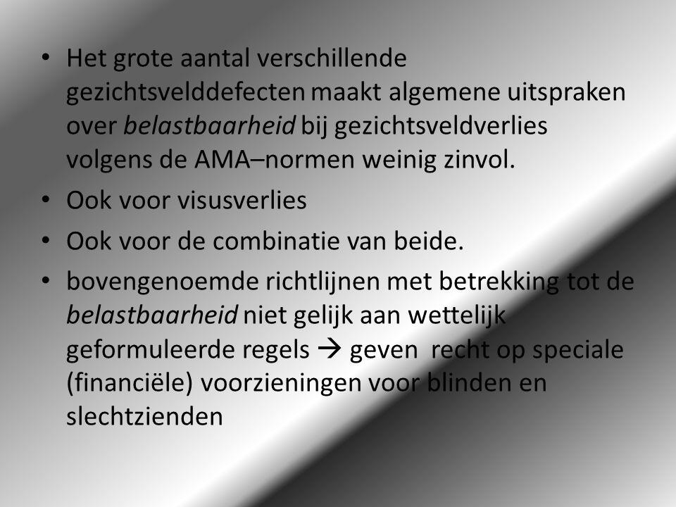Het grote aantal verschillende gezichtsvelddefecten maakt algemene uitspraken over belastbaarheid bij gezichtsveldverlies volgens de AMA–normen weinig zinvol.