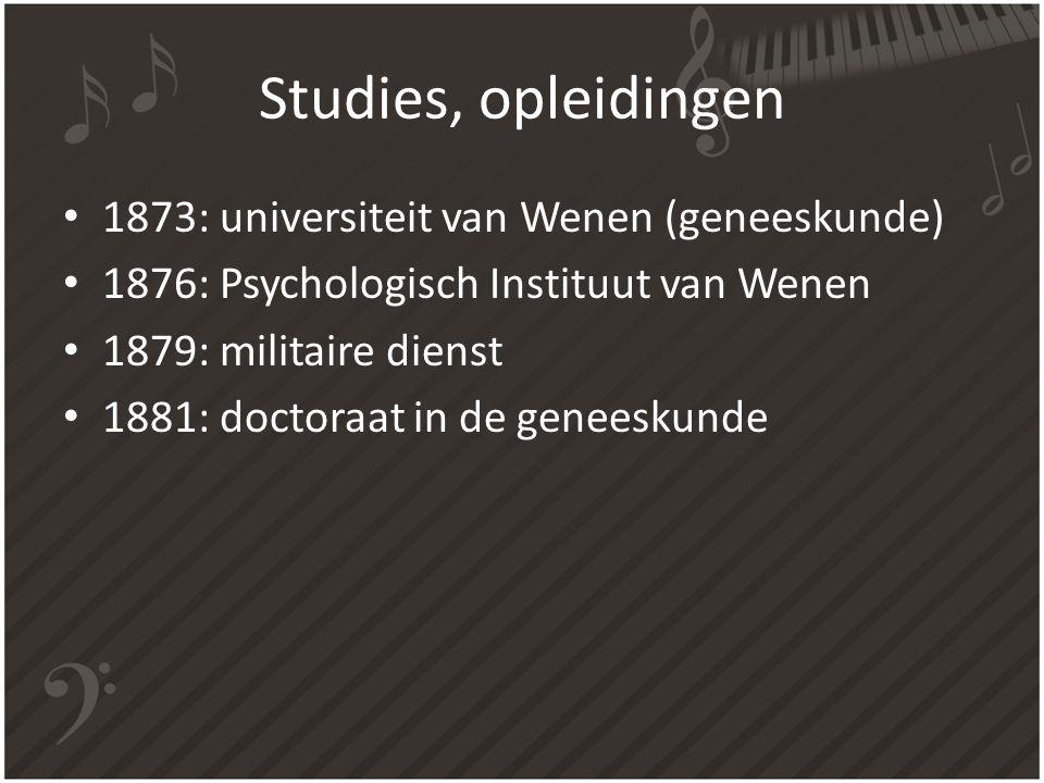 Studies, opleidingen 1873: universiteit van Wenen (geneeskunde)