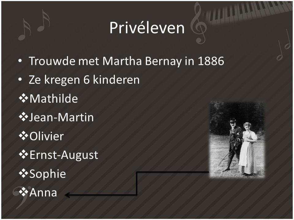 Privéleven Trouwde met Martha Bernay in 1886 Ze kregen 6 kinderen
