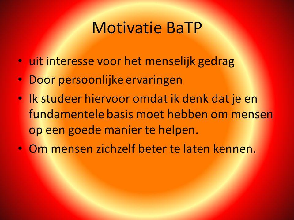 Motivatie BaTP uit interesse voor het menselijk gedrag