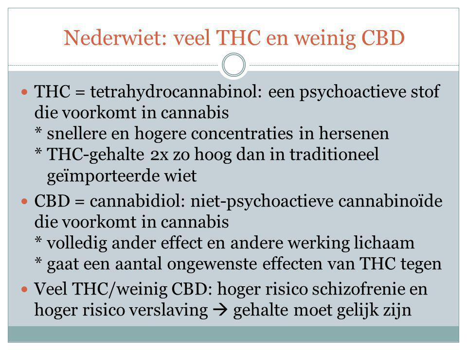 Nederwiet: veel THC en weinig CBD
