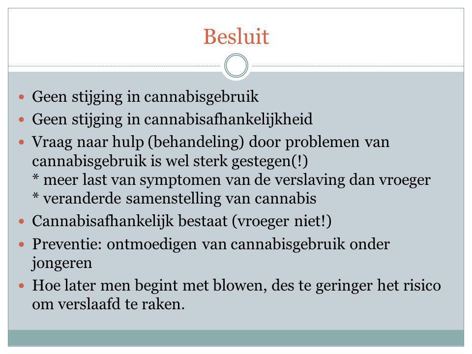 Besluit Geen stijging in cannabisgebruik