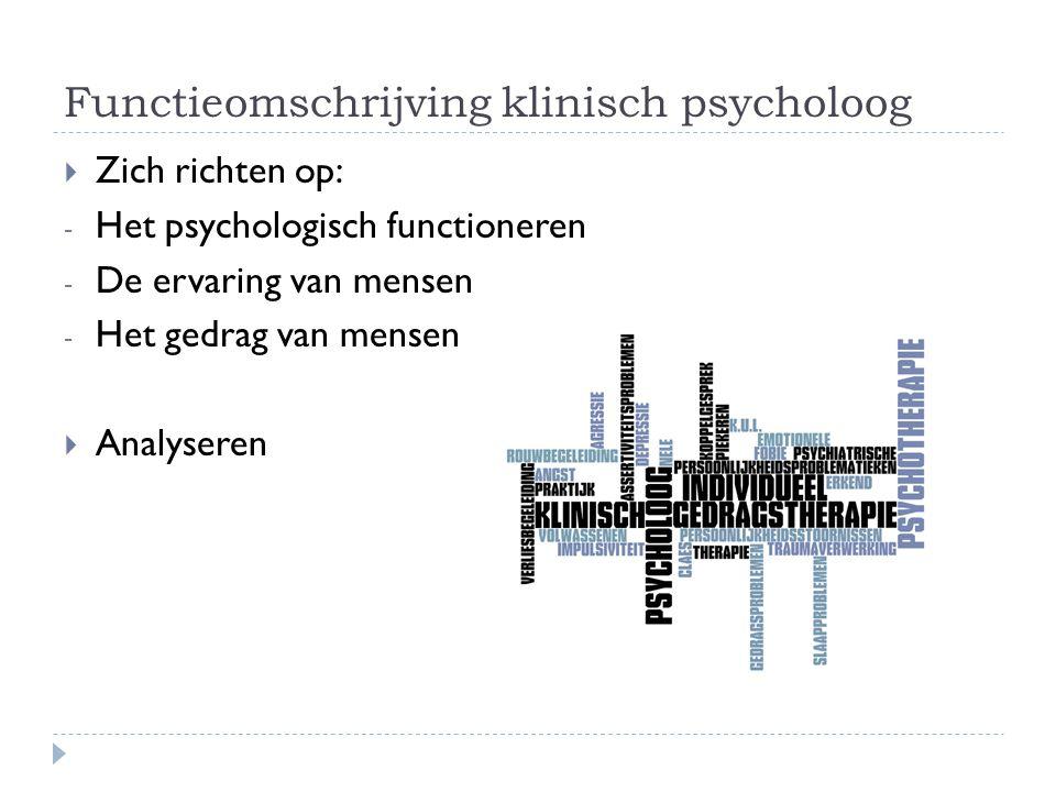 Functieomschrijving klinisch psycholoog