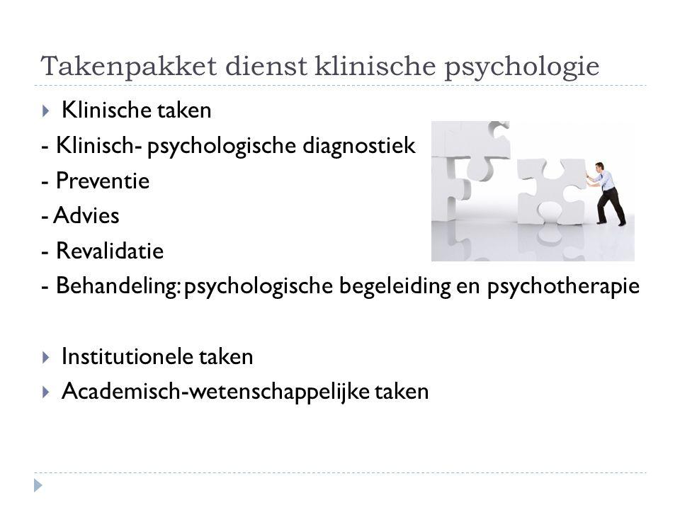 Takenpakket dienst klinische psychologie