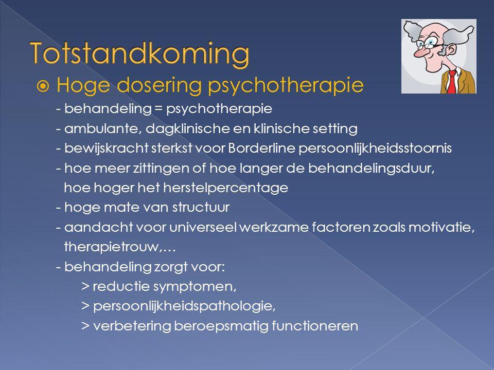 Totstandkoming Hoge dosering psychotherapie