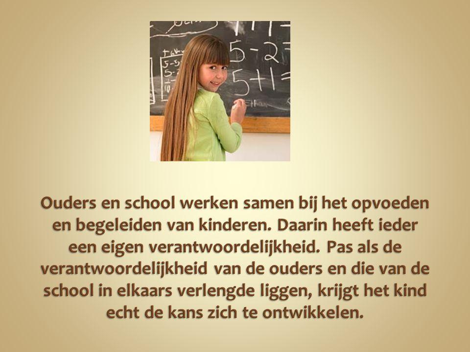 Ouders en school werken samen bij het opvoeden en begeleiden van kinderen.