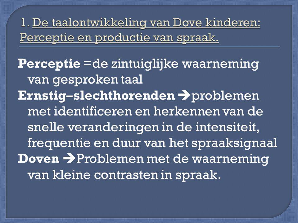1. De taalontwikkeling van Dove kinderen: Perceptie en productie van spraak.