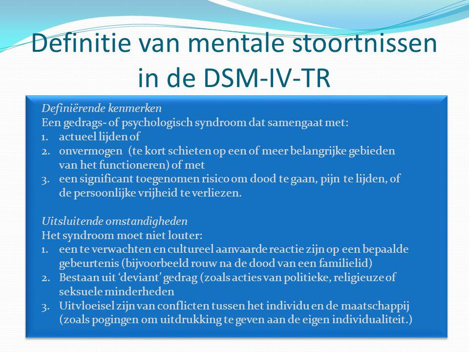 Definitie van mentale stoortnissen in de DSM-IV-TR