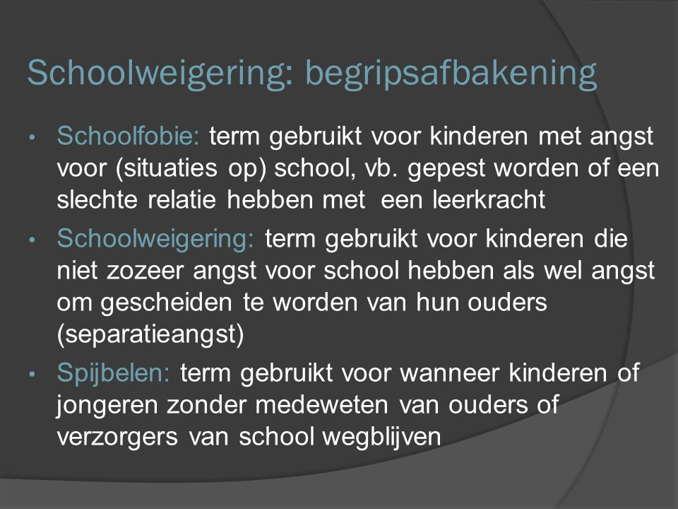 Schoolweigering: begripsafbakening