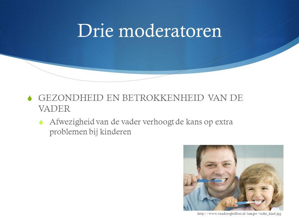 Drie moderatoren GEZONDHEID EN BETROKKENHEID VAN DE VADER