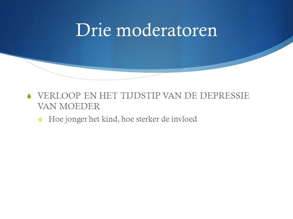 Drie moderatoren VERLOOP EN HET TIJDSTIP VAN DE DEPRESSIE VAN MOEDER
