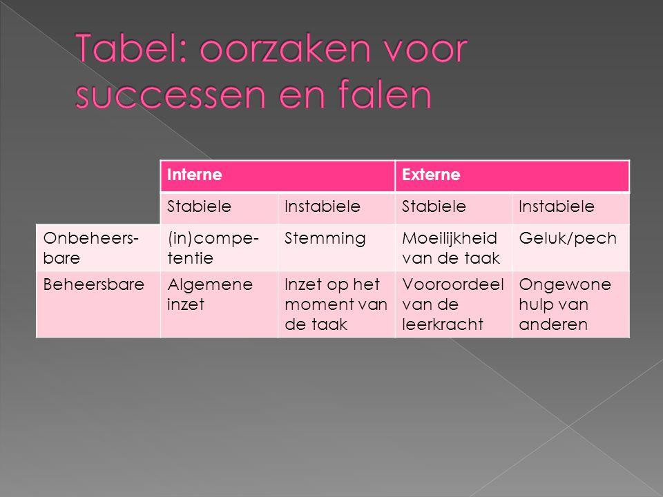 Tabel: oorzaken voor successen en falen