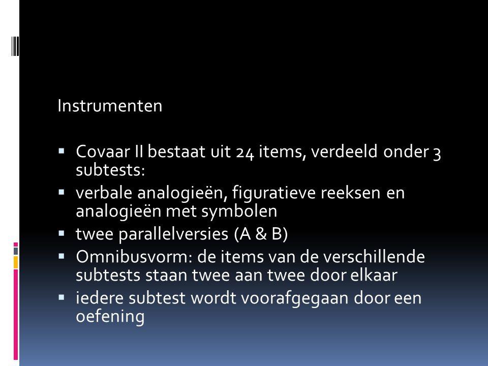 Instrumenten Covaar II bestaat uit 24 items, verdeeld onder 3 subtests: verbale analogieën, figuratieve reeksen en analogieën met symbolen.