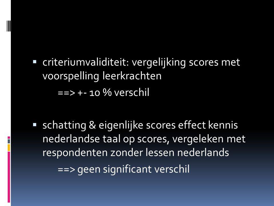 criteriumvaliditeit: vergelijking scores met voorspelling leerkrachten