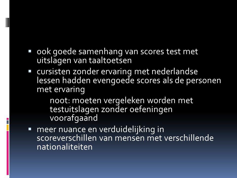 ook goede samenhang van scores test met uitslagen van taaltoetsen