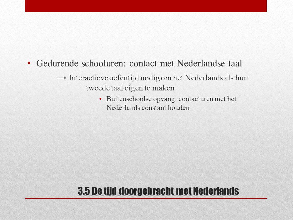 3.5 De tijd doorgebracht met Nederlands