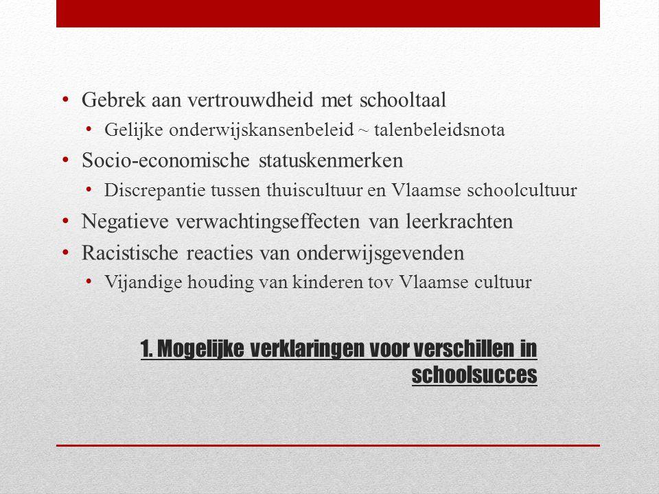 1. Mogelijke verklaringen voor verschillen in schoolsucces