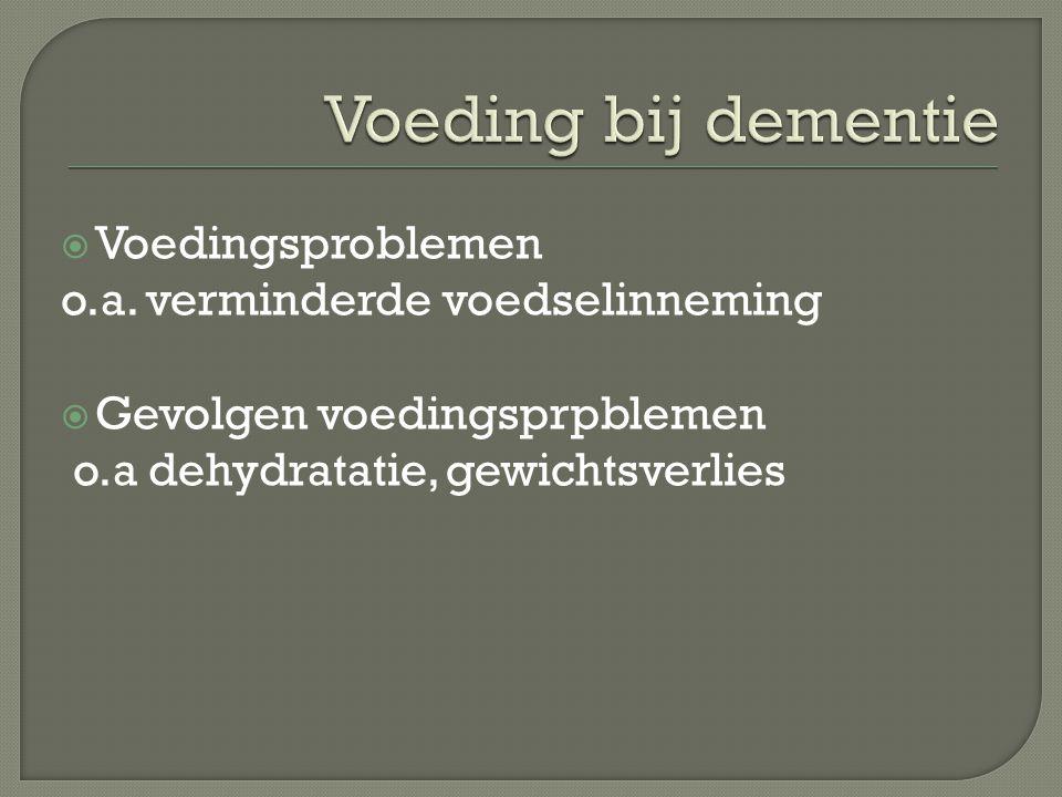 Voeding bij dementie Voedingsproblemen