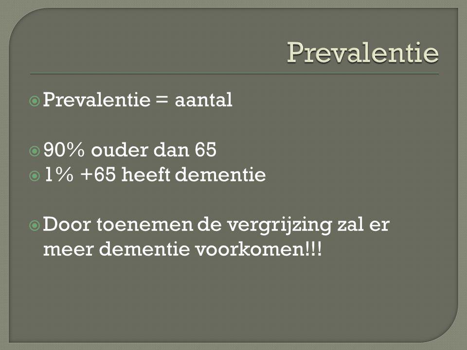 Prevalentie Prevalentie = aantal 90% ouder dan 65