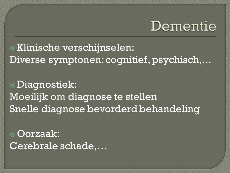 Dementie Klinische verschijnselen: