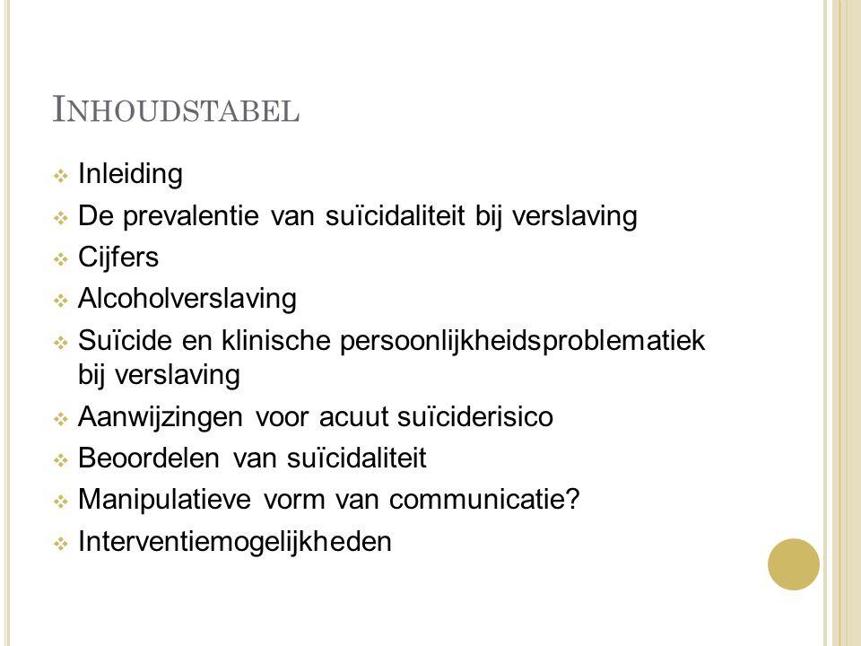 Inhoudstabel Inleiding De prevalentie van suïcidaliteit bij verslaving