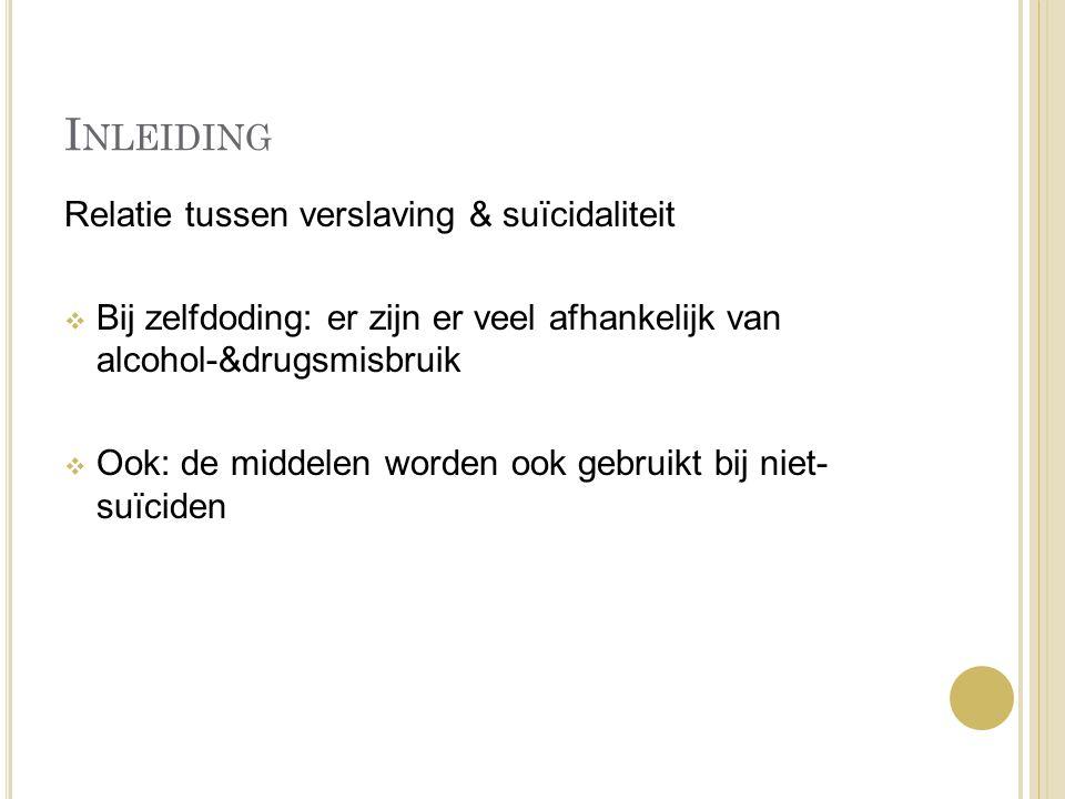 Inleiding Relatie tussen verslaving & suïcidaliteit