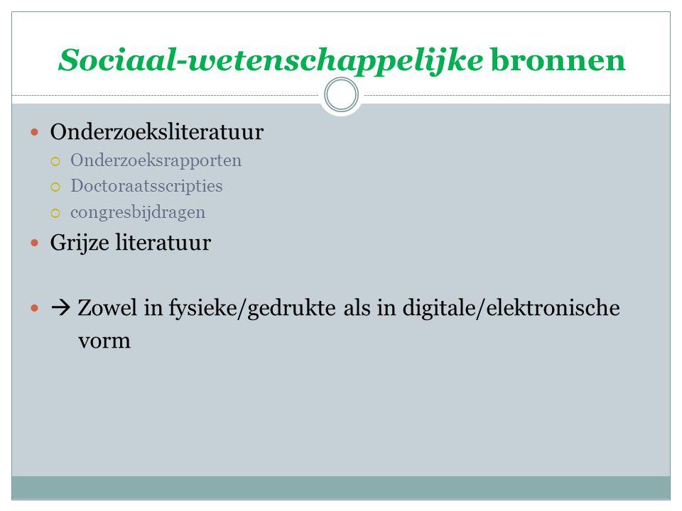 Sociaal-wetenschappelijke bronnen