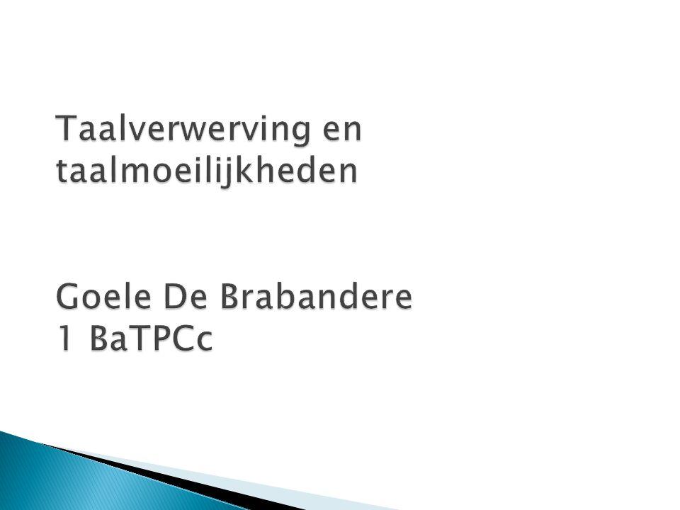 Taalverwerving en taalmoeilijkheden Goele De Brabandere 1 BaTPCc