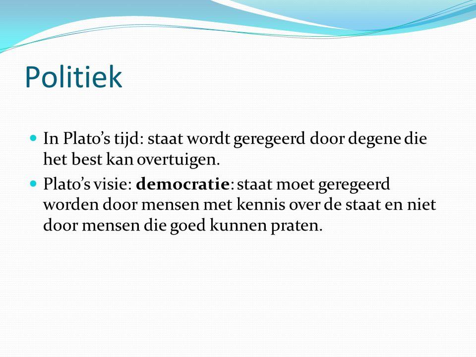 Politiek In Plato's tijd: staat wordt geregeerd door degene die het best kan overtuigen.