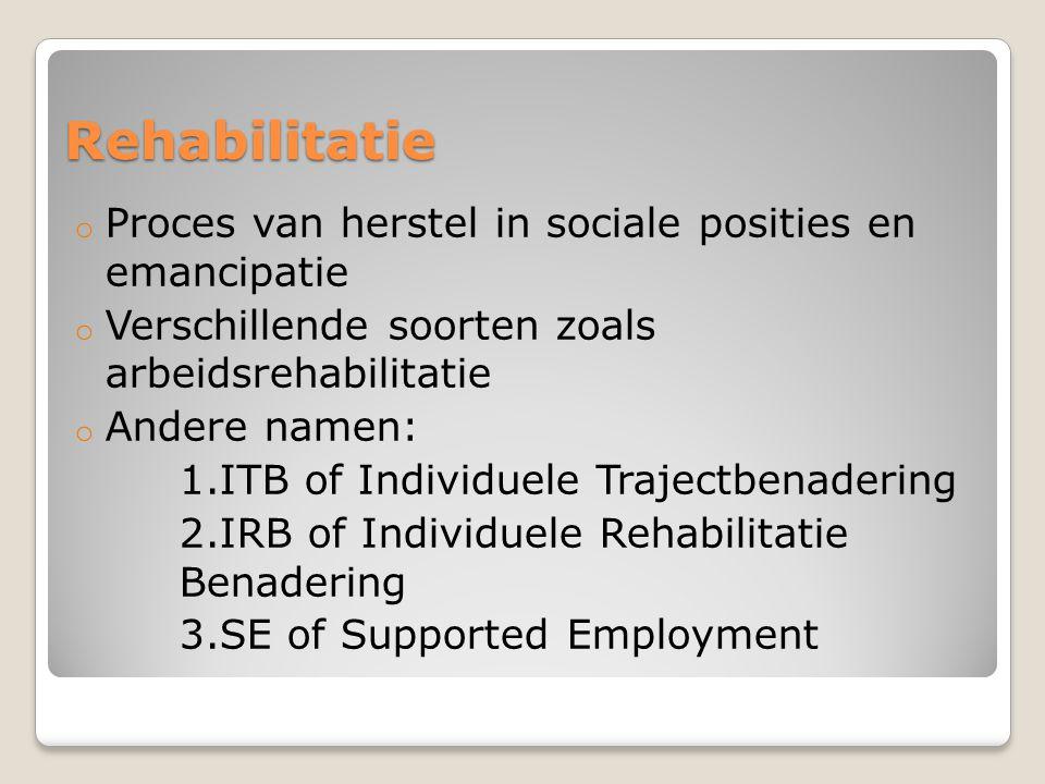 Rehabilitatie Proces van herstel in sociale posities en emancipatie