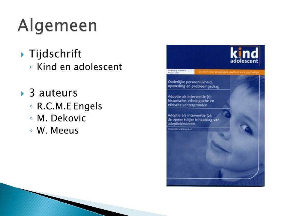 Algemeen Tijdschrift 3 auteurs Kind en adolescent R.C.M.E Engels