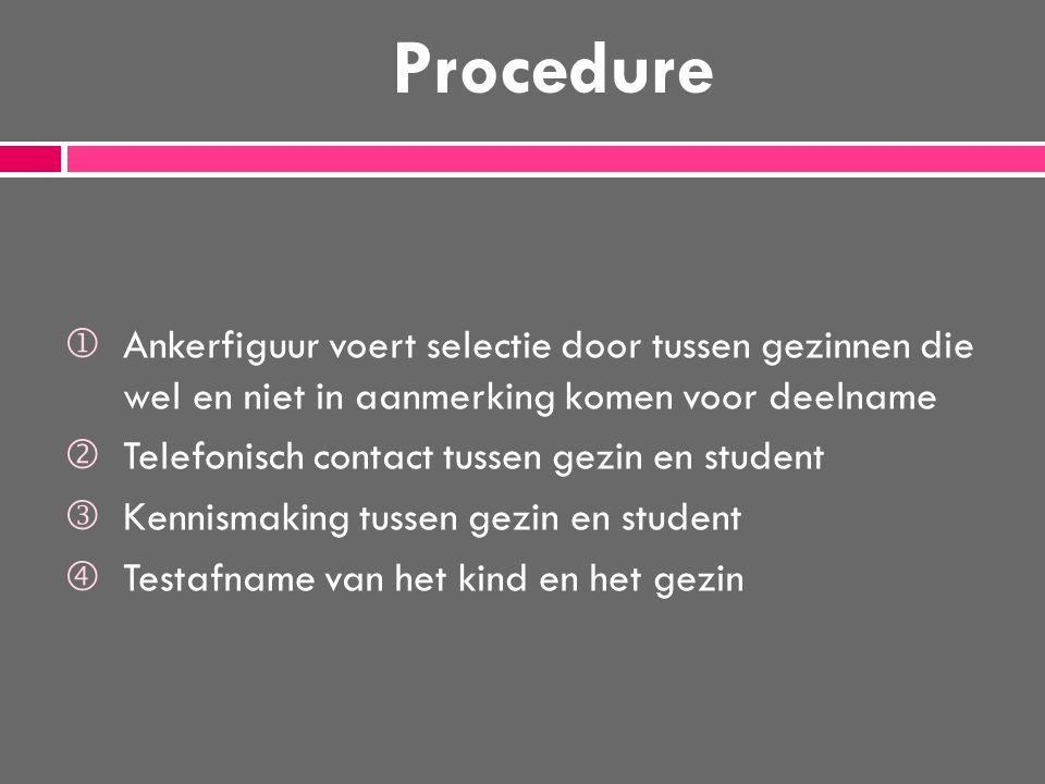 Procedure Ankerfiguur voert selectie door tussen gezinnen die wel en niet in aanmerking komen voor deelname.