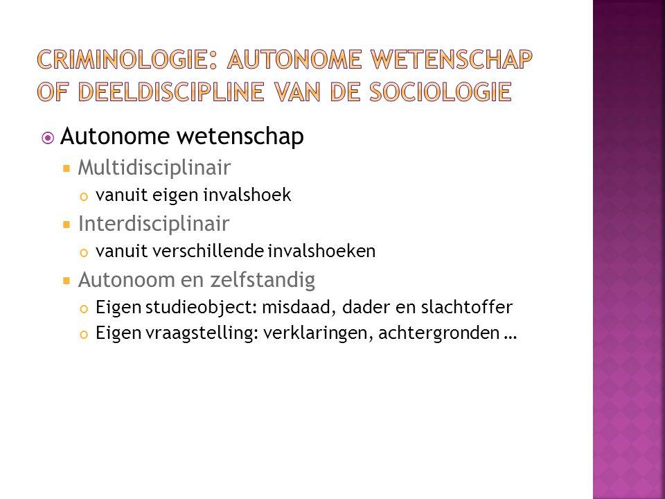 criminologie: autonome wetenschap of deeldiscipline van de sociologie