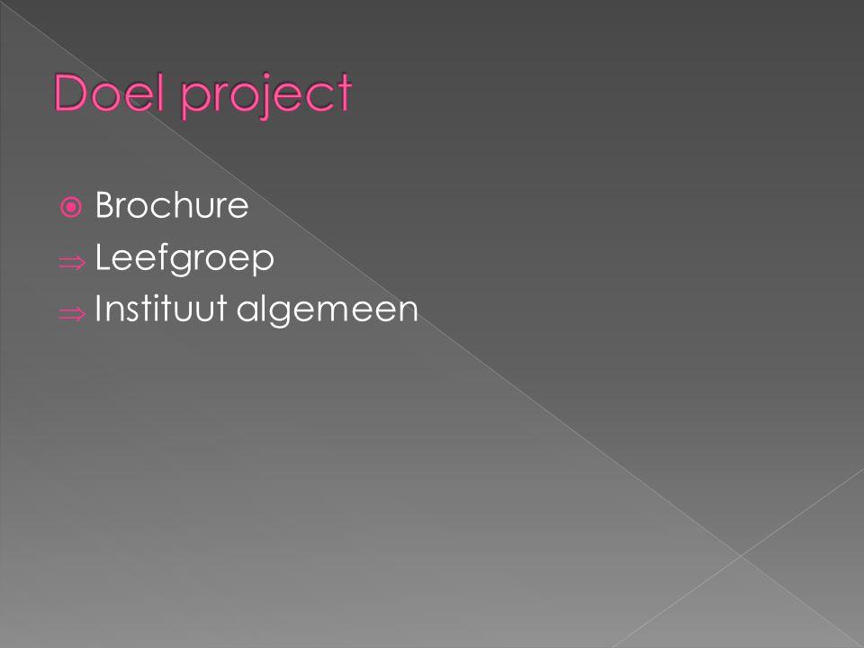 Doel project Brochure Leefgroep Instituut algemeen