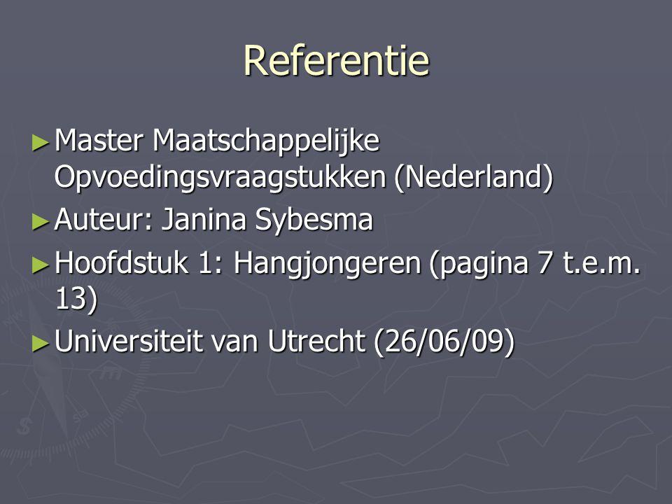 Referentie Master Maatschappelijke Opvoedingsvraagstukken (Nederland)