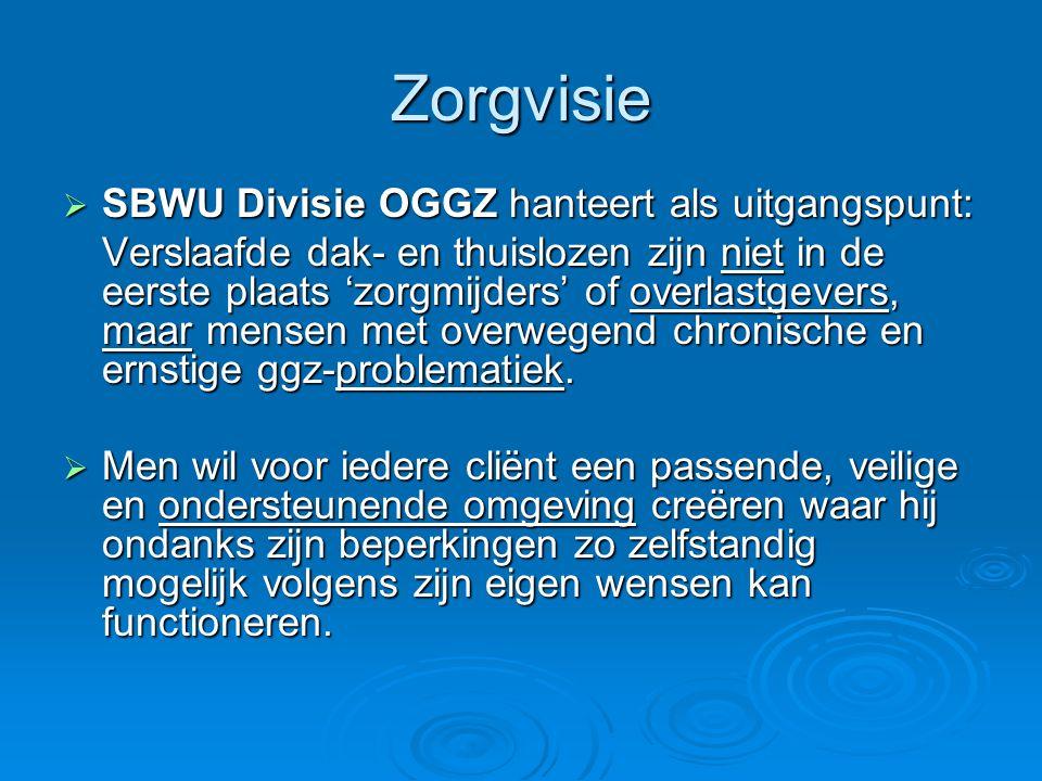 Zorgvisie SBWU Divisie OGGZ hanteert als uitgangspunt: