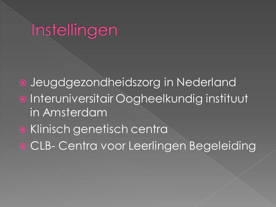 Instellingen Jeugdgezondheidszorg in Nederland