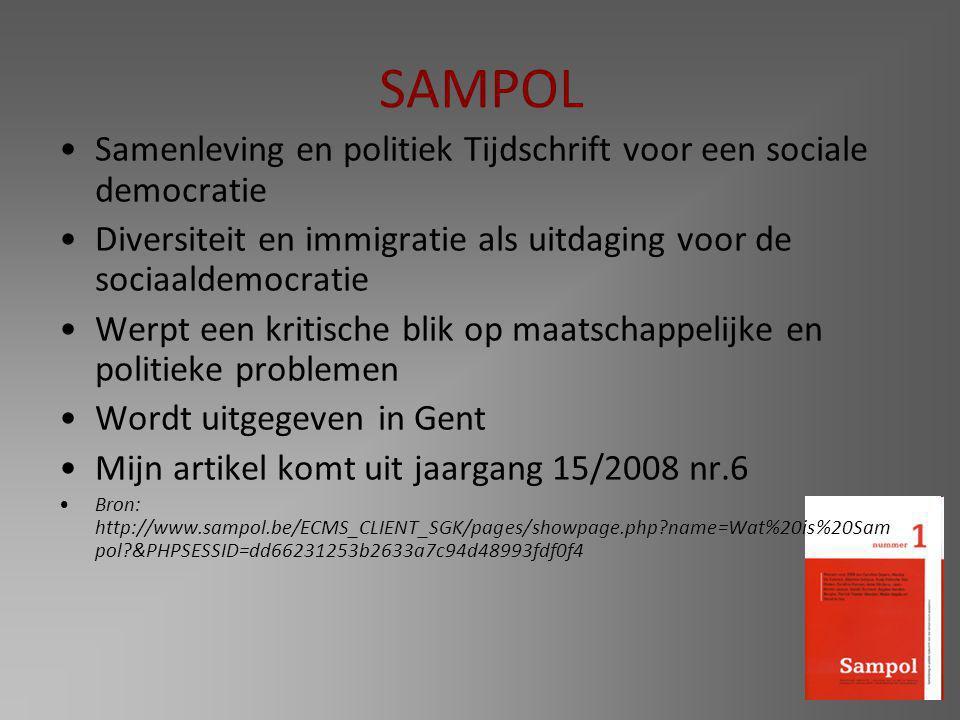 SAMPOL Samenleving en politiek Tijdschrift voor een sociale democratie